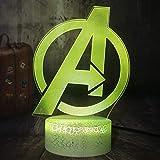 Lámpara De Ilusión 3D Luz De Noche Led Marvel Comics Marvel Legends Avengers Logo Crackle White Base Table Lamp Kid Toy Christmas Gift Home Decor