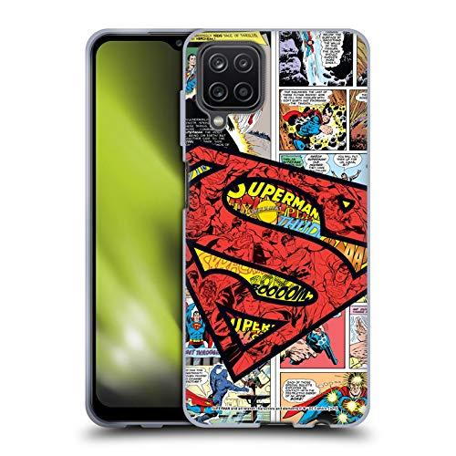 Head Hülle Designs Offiziell Zugelassen Superman DC Comics Übergroßes Logo Comic Kunst Soft Gel Handyhülle Hülle Huelle kompatibel mit Samsung Galaxy A12 (2020)