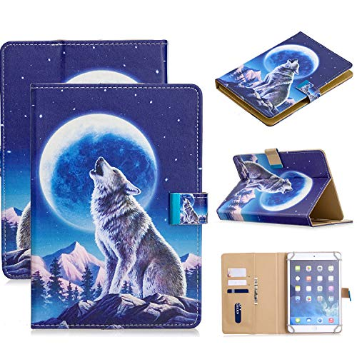 Universal Case for 9.5-10.5 Inch Tablet, APOLL Synthetic Leather Magnetic Closure Card Slots Wallet Case for G oogle Nexus 10 for HD 10.1  and Other 9.7 10 10.1 10.3 10.5 inch Tablet, Moon Wolf