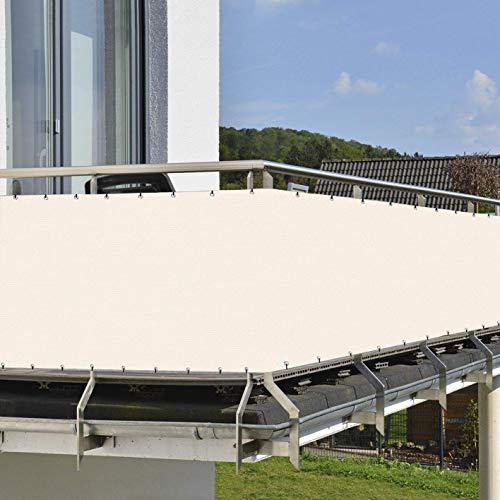 HENG FENG 90x300cm Brise Vue Balcon HDPE 180g/m2 Pare Soleil UV Protection avec Serre-Cables pour Jardin Terrasse Beige