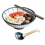 Cuenco Ramen Japones Cerámica, 1100ml/9in Grande Cuencos Japoneses Bol Bowl Cocina Ensaladera Tazón de Sopa, con Cuchara y Palillos Blanco