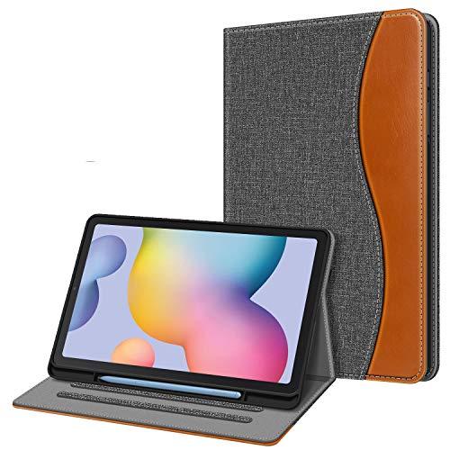Fintie Hülle für Samsung Galaxy Tab S6 Lite, Soft TPU Rückseite Gehäuse Schutzhülle mit S Pen Halter und Dokumentschlitze für Samsung Tab S6 Lite 10.4 Zoll SM-P610/ P615 2020, dunkelgrau