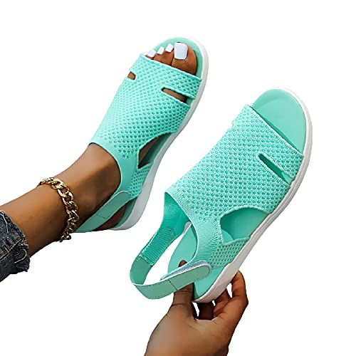 MIAOFA Sandalias Casuales de Verano para Mujer, Suela Suave, Punta Abierta, Punta Redonda, Zapatillas, Zapatos para vadear en la Playa,Verde,37