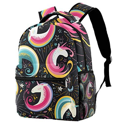 Mochila escolar con diseño de unicornios de dibujos animados y nubes de arco iris, mochila de viaje para mujeres y hombres