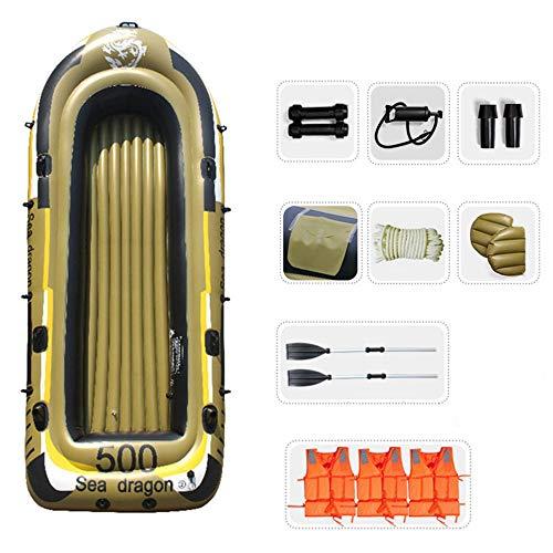WNN 5-Persona de Pesca establecidas Barco Inflable del kajak de Agua Inflable del Flotador de la Serie con los remos (Amarillo) URG
