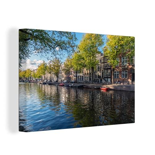 Canvas Schilderijen - De Prinsengracht in het centrum van Amsterdam - 150x100 cm - Wanddecoratie - canvas met 2cm dik frame
