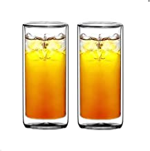 Sun's Tea(tm) 16oz Ultra Clear Strong Double Wall Insulated Thermo Glass Tumbler Highball Glass for Beer/cocktail/lemonade...