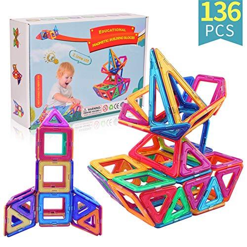 Myoyo Magnetische blokken Bouwtegels 136 PC's Set met sterke magneten Ontwikkelt de verbeelding, inspiratie en fijne motoriek van kinderen bij kinderen