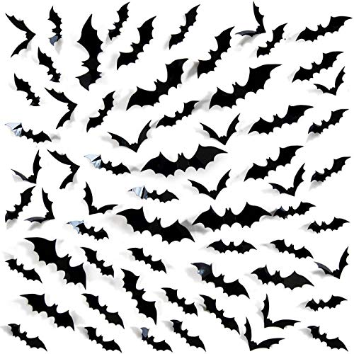 Tuopuda 3D Fledermäuse Halloween Wandtattoo 60/120 Stück Wandsticker Halloween Party Dekoration Home Deko Wandaufkleber Schwarze Fledermäuse Aufkleber Fensterbilder Fensterdeko Sticker