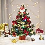 Amasava Albero di Natale Mini Abete Rosso con 40 LED e Decorazioni Rosse Ornamenti per Alberi di Natale Cono di Abete Regalo 45CM Decorazioni per la casa di Natale Rosse