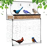 Window Bird Feeder with Strong Suction Cups, 3 Removable Seed Trays, Drain Holes and Bird Swing for Up-Close Wild Bird Watching