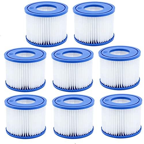 BEMAL VI Filter, Ersatzfilter für Bestway Flowclear Filterpatrone VI, für Lay-Z-Spa Miami, für Vegas, für Monaco, für Palm Springs.Größe 6-58323. (8 Pack)