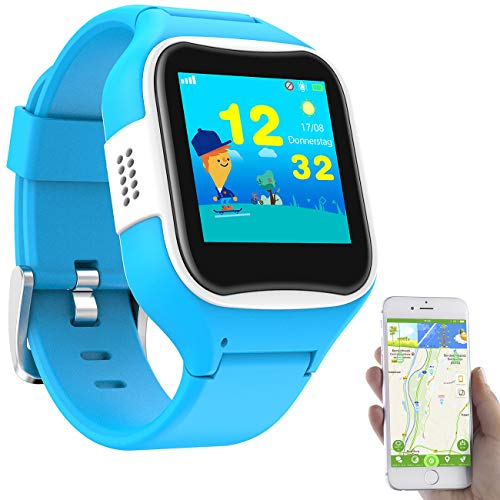 TrackerID Kinder Uhr GPS: Kinder-Smartwatch mit GPS-/GSM-/WiFi-Tracking, SOS-Taste, blau, IP65 (Tracking Uhr Kinder)