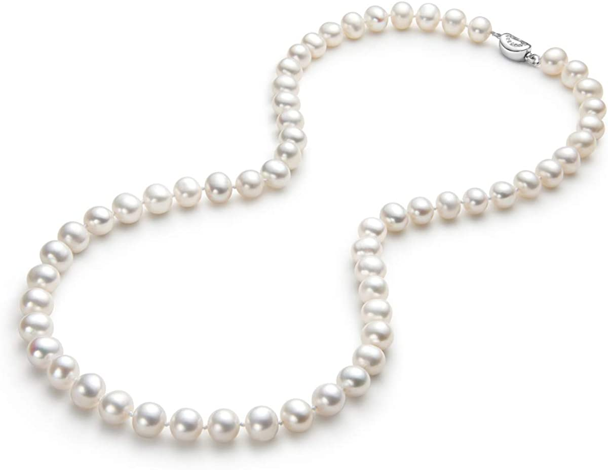 Pearl Strand Necklaces Freshwater Cultured Pearls Beaded Necklace for Women Brides Costume Wedding 6-7mm//7-8mm//8-9mm//9-10mm//10-11mm Pearl Jewelry Gift with Sterling Silver Clasp 18//20//36 Inches