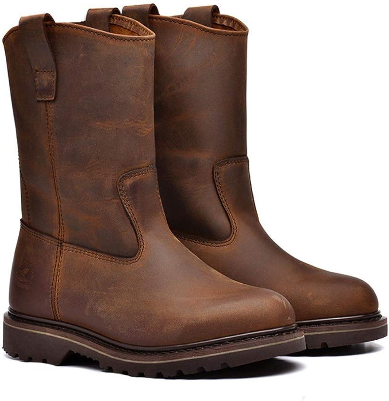Qiusa Klassische Echtleder Hohe Stiefel für Männer Weiche Sohle Durable Non Slip Stiefel (Farbe : Braun, Größe : EU 43) B07K2YVNYL    Adoptieren