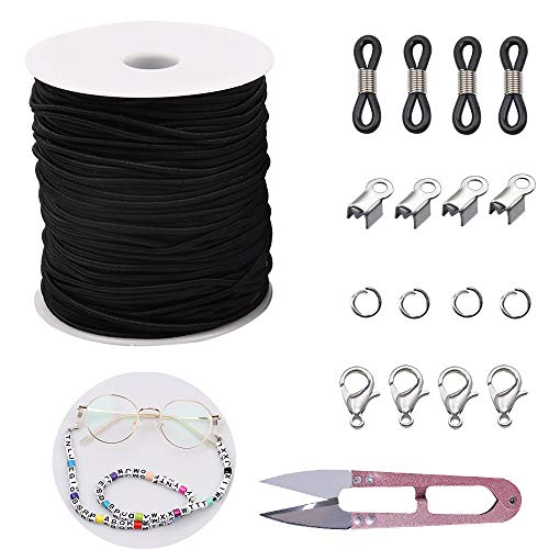 2mm Black Elastic Stretch String for Face Covering Glasses Lanyard,Adjustable Eyeglasses Holder Cord,Elastic Cord for Bracelets Necklaces Beading Making,Includes U Sewing Scissors,Silicone Temple Tips