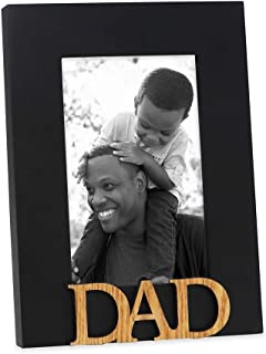 Isaac Jacobs Black Wood Sentiments Dad Picture Frame, 4x6 inch, Photo Gift for Father, Family, Display on Tabletop, Desk (Black)
