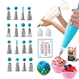 RFAQK 30 PCs Piping Bags and Tips-16 Numbered Piping Tips & 10 Pastry bags with Pattern Chart &...