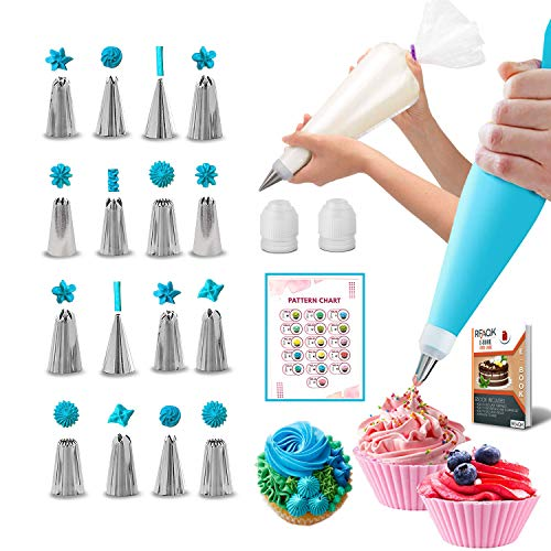 RFAQK 30 PCs Piping Bags and Tips-16 Numbered Piping Tips & 10 Pastry bags with Pattern Chart & EBook- Frosting Icing Tips-Cupcake Cookie decorating tips supplies kit & baking tools.