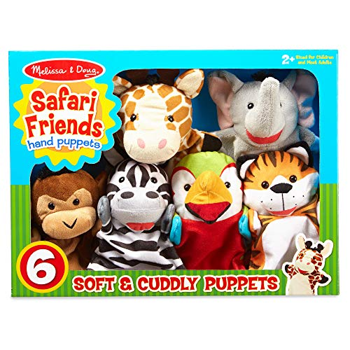 "Melissa & Doug Safari Buddies Hand Puppets Puppet Set, 6 Hand Puppets, 12"""