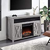 BELLEZE Barn Door Wood Electric Fireplace TV Stand & Media Entertainment Center Console Table for TVs up to 55 Inches with Two Open Shelves and Cabinets - Corin (Gray Wash)