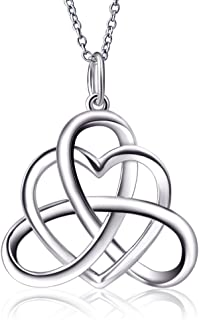 925 Sterling Silver Good Luck Irish Triangle Celtic Knot Heart Vintage Pendant Necklace, Box Chain 18