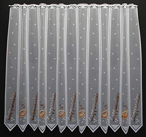 Rideaux brise-bise Cappuccino beige/marron 120 cm de haut | La largeur est réglable en fonction du nombre de pièces en pas de 11,5 cm. | Couleur: Blanc/beige/brun