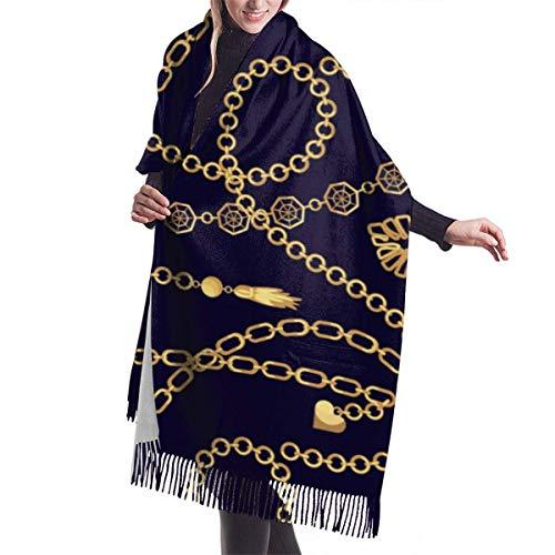 Nifdhkw Chaîne Pendentifs En Or Collier Motif Femmes Écharpe Grande Couverture Longue Châle Wrap Châle Avec Pompon 77X27 Pouces