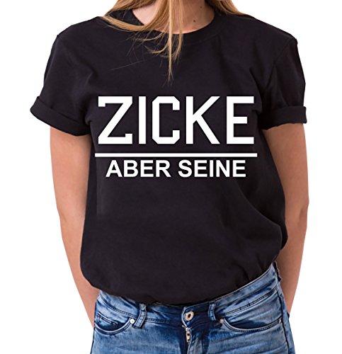 Idiot Zicke Queen Partner Look Pärchen Valentinstag T-Shirt Set, Größe:S;Partner Shirts:Damen T-Shirt Schwarz