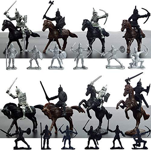Zerodis Modello di Soldato Militare Statico di Simulazione Mini Soldatino Medievale Giocattoli Antichi Modello Giocattolo Cognitivo Regalo per Bambini(12 Soldati + 8 Cavalieri) (A)