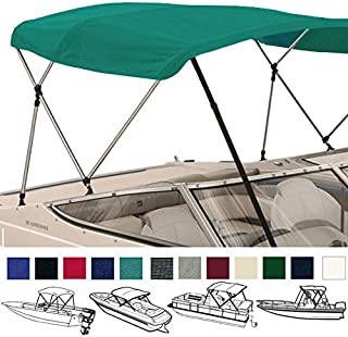 SavvyCraft 4 Bow Bimini Top Boat Cover 1 Inch Aluminum Frame with Storage Boot and Rear Poles Mounting Hardwares Includes Color Black,Gray,Beige,Navy,Blue,Green, Teal,Burgundy Available 8 Size