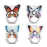 Mixtecc - Soporte para anillo de teléfono (4 unidades), diseño de mariposa, diseño...
