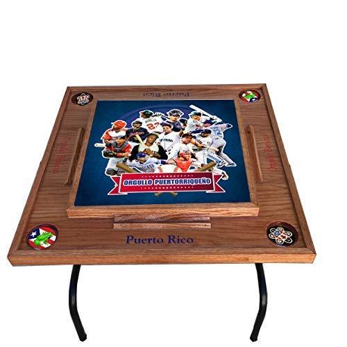 latinos r us Puerto Rico Domino Table Baseball (Dark Walnut)