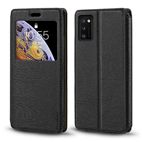 Schutzhülle für Samsung Galaxy A41, Holzmaserung, Leder, mit Kartenhalter & Fenster, magnetisch, Flip Cover für Samsung Galaxy A41 (schwarz)