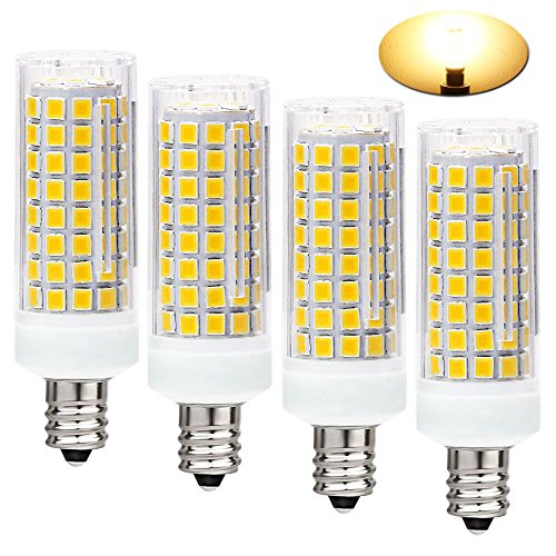 All-New (102LEDs) E12 LED Bulbs, 75W or 100W Equivalent Halogen Replacement Lights, Dimmable,850 Lumens,360 Degree Beam Angle T3/T4 Candelabra Base,AC110-130V,8W Warm White 3000K(Pack of 4)