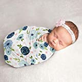 Sweet Jojo Designs Watercolor Floral Baby Girl Swaddle Blanket Jersey Stretch Knit for Newborn or Infant Receiving Security - Navy Blue and Blush Pink Boho Shabby Chic Rose Flower