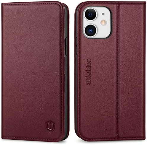 SHIELDON Case for iPhone 12 12 Pro 5G Genuine Leather Wallet Case RFID Blocking Credit Card product image