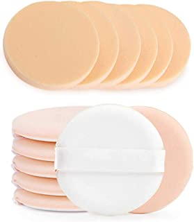 BEAKEY Round Makeup Sponges with Air Cushion Powder Puff, Latex-free Blending Sponge and Makeup Puff for Liquid Foundation, Cream, Powder, Concealer 6+6 Pcs Sponge with Powder Puff