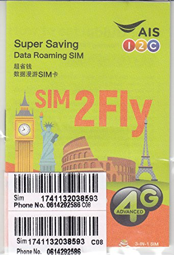 AIS SIM2FLY 4GB / 15 Days Non-Stop Roaming SIM To Use In Europe, Asia, Middle East, USA, Canada As Well As Russia - Ideal SIM Card For The FIFA World Cup
