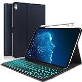 Boriyuan iPad Pro 11キーボードケース 7色 バックライト 取り外し可能 キーボード スリムレザーフォリオカバー 自動ウェイク&スリープ機能付き iPad 11インチ 2018用 (ダークブルー)
