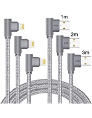 Lively Life 3-pack rätvinklad ljusare laddningskabel, 90 graders belysningskabel kompatibel telefon XS/XR/X/ 8 Plus/ 7/6 Plus/SE/Pod Touch/Pad 1M+2M+3M grå