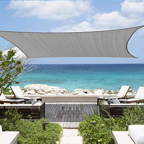 Shade&Beyond 12'x16' Sun Shade Sail Rectangle Canopy Sail Sunshade UV Block for Patio Yard Backyard Light Grey