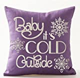Queen's designer Baby It's Cold Outside in Purple Letters Idea Merry Cotton Linen Decorative Throw Pillow Case Cushion Cover Square 18' X18