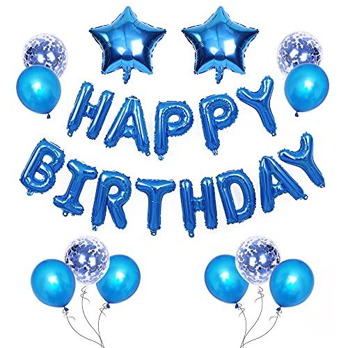 Banner de globos de feliz cumpleaños, 16 pulgadas, globos de letras azules, confeti, látex, estrellas, globos, decoración de fiesta de cumpleaños para niños, niñas, hombres, mujeres
