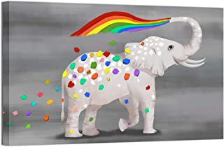 Welmeco Funny Animals Canvas Prints Little Elephant Spray Colorful Rainbow Painting Wall Art Giclee Printing Ready to Hang Home Office Kids Nursery Bedroom Decoration (16