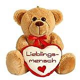 matches21 Teddybär mit Herz / Herzteddy ** Lieblingsmensch ** 25 cm Hellbraun - DIE Geschenkidee!