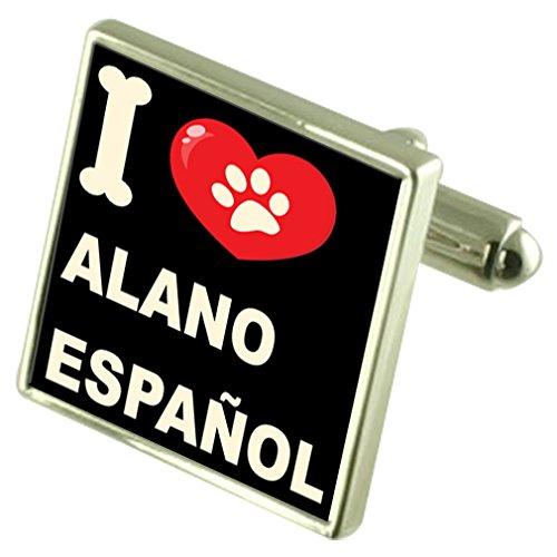 Select Gifts Ich liebe meinen Hund Silver-Tone Manschettenknöpfe Alano Español