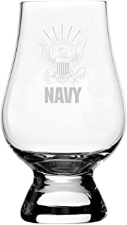 United States Navy Etched Glencairn Crystal Whisky Glass