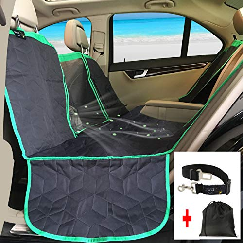 ARGA Dog Car Seat Hammock Waterproof Cover Protector Include Pet Puppy Cat Safety Buckle Belt; Tote Bag; Console Access; Mesh Window; Storage; Bench; Anti-Slip; Size L58 x W54 inches Black and Green