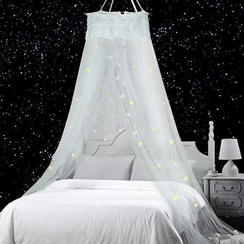Jeteven Moskitonetz Kinder, Moskitonetz Mädchen Prinzessin Moskitonetz Moskitonetz Bett Reise,Abweisendes Netz,Enthält Fluoreszierende Sterne Dekorative Schneeflocke Installationsmaterialien(Weiß)